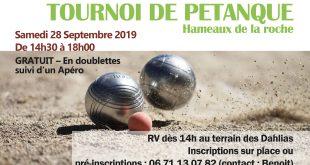 banniere TOURNOI petanque 2019 LES HAMEAUX DE LA ROCHE