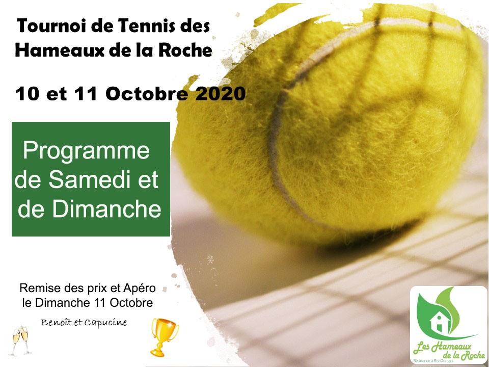 Programme Tournoi de TENNIS de double de ce week-end : 10 et 11 octobre