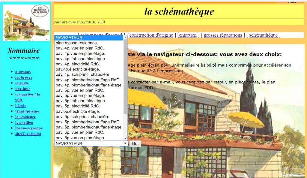 Ecran schématèque du site guide des Hameaux