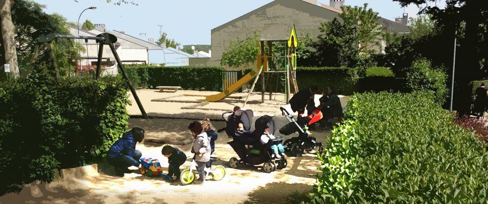 Jeux d'enfants et parc clôturé pour la tranquillité des plus petits