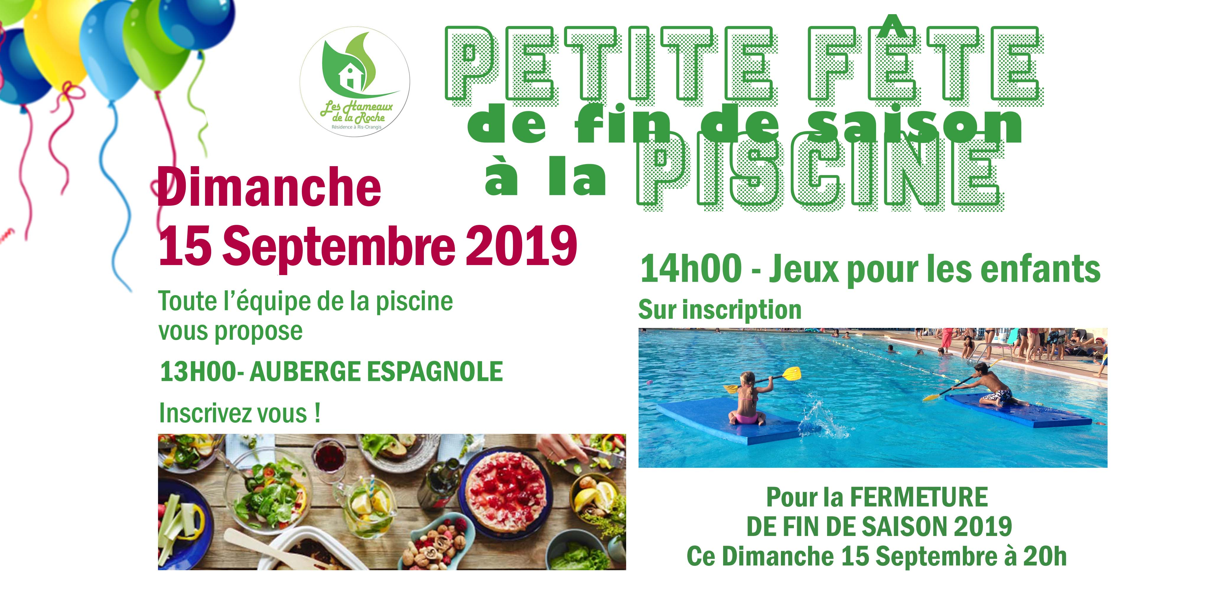 Dim 15 Septembre 2019, Pour la FERMETURE de la PISCINE : Petite Fête