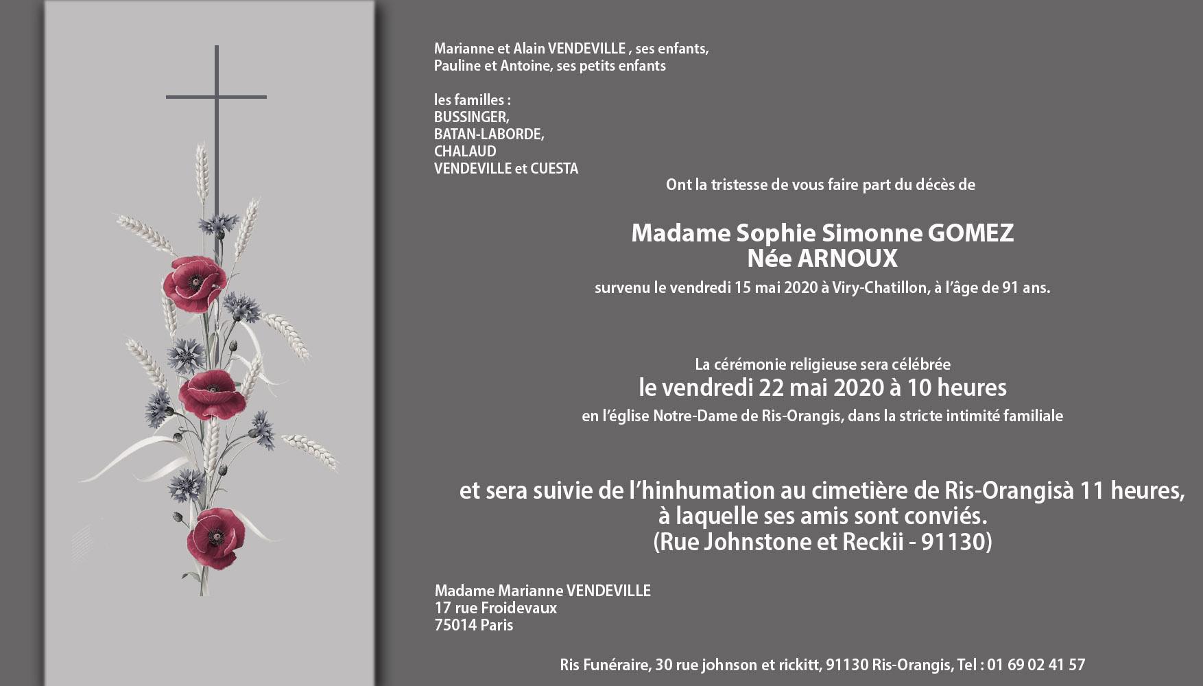 Décès de notre amie Sophie Gomez née Arnoux