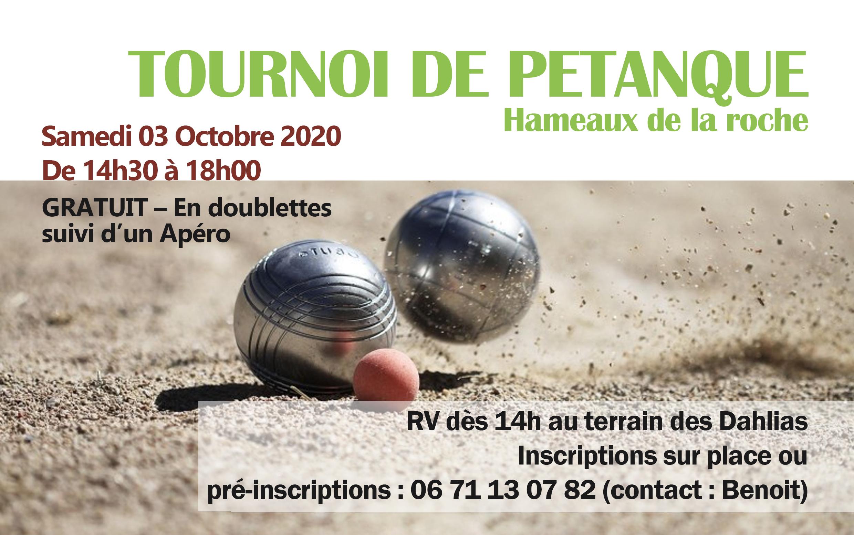 TOURNOI DE PÉTANQUE samedi 3 octobre 2020 aux Hameaux de la Roche
