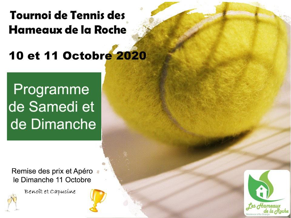 Programme Tournoi de TENNIS de double de ce week-end : 10 et 11 octobre