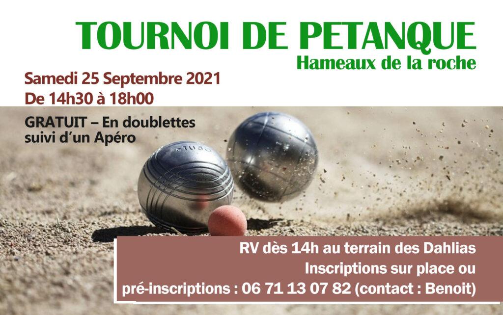 TOURNOI DE PÉTANQUE samedi 25 septembre 2021 aux Hameaux de la Roche @ terrain de pétanque Dahlias